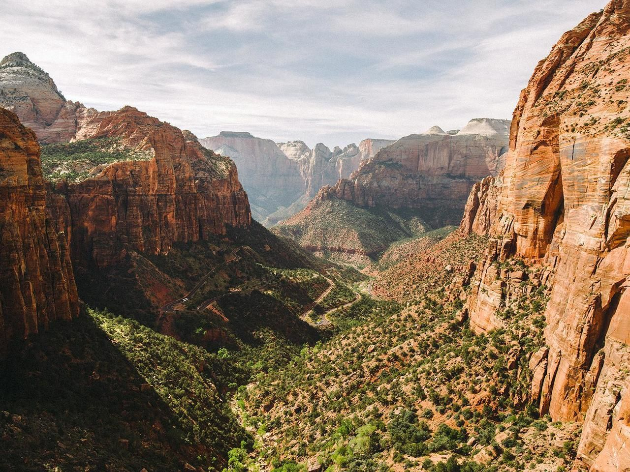 Zion Natural Park In Utah USA. Beautiful View Of Valley