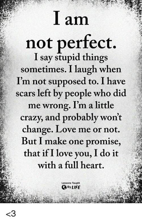 Crazy Life And Love L Am Not Perfect I Say Stupid Things