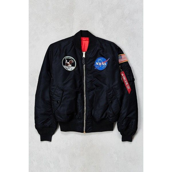 Alpha Industries NASA MA-1 Bomber Jacket ($199) ❤ liked on Polyvore featuring men's fashion, men's clothing, men's outerwear, men's jackets, mens zip up jacket, mens water resistant jacket, mens nylon bomber jacket and mens nylon jacket
