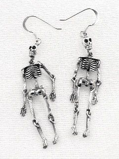 Moveable Sterling Silver Science SKELETON Bone Earrings  98fd028ad863