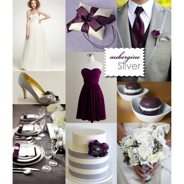"""""""1 last sample for a Winter wedding: Aubergine & Silver  ° Let us know if you have any special requests on colors, ideas, flower arrangements or…"""""""