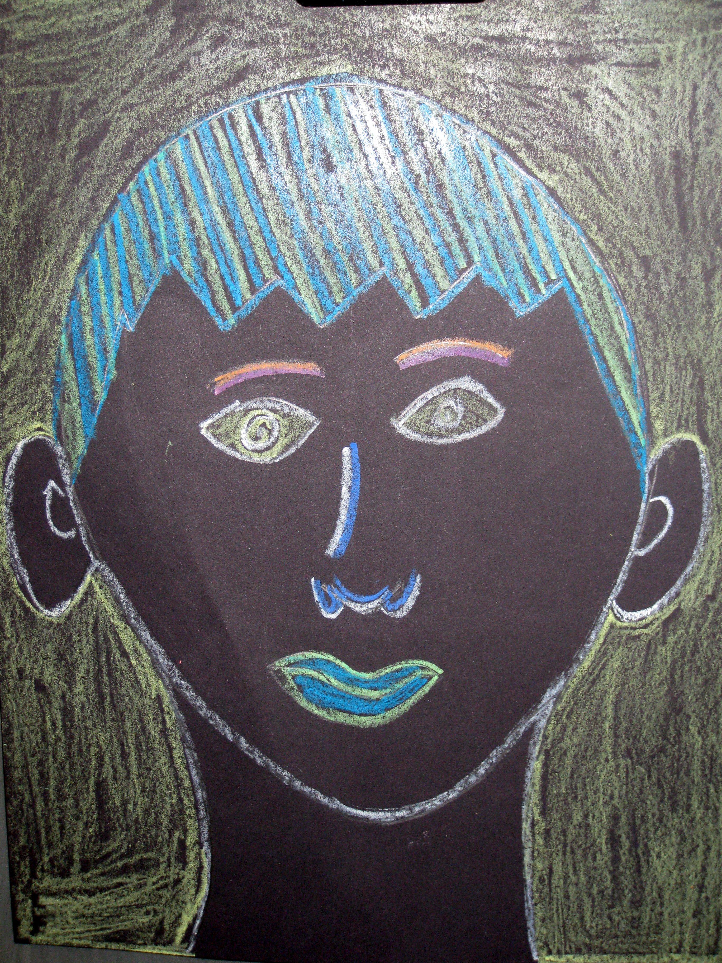 3rd Grade Self Portrait Drawing With Light Idea