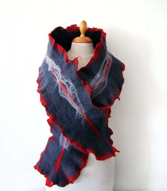 Hand felted scarf red black and grey by GabardineCouture on Etsy, 75.00
