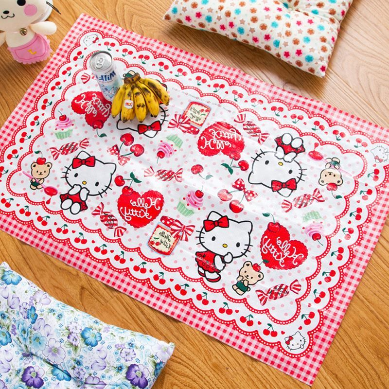 Cartoon Hello Kitty Plastic Food Dish/Coffee/Cup Mat Outdoor Picnic Table  Mats Waterproof