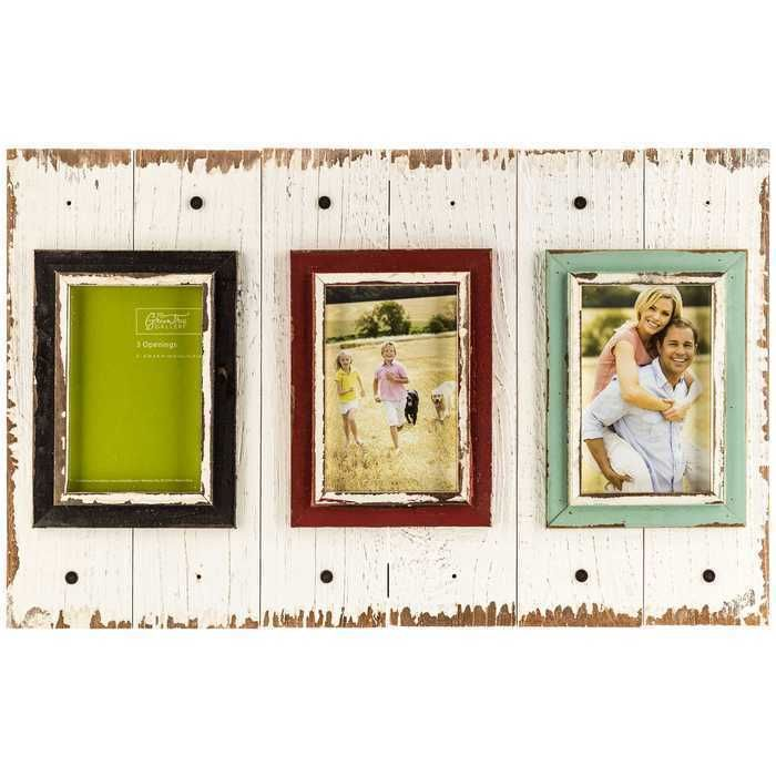 Distressed White Pallet 3 Opening Picture Frame Shabby Chic ...