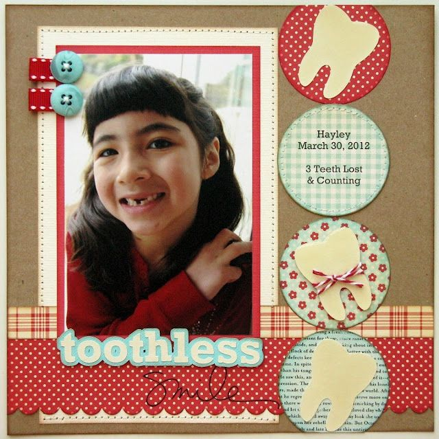 Snippets By Mendi: Knee Deep In Mini Book Pages! - Laney's 1st Lost Tooth Layout Idea