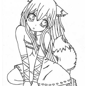 Long Haired Chibi Anime Character Coloring Page Fox Coloring Page Anime Wolf Girl Anime Chibi