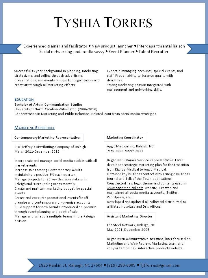 Marketing Resume Visual presentation of marketing experience in - public relations assistant sample resume
