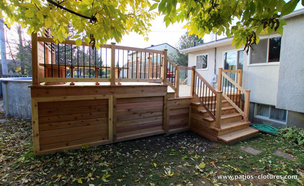 Patio de piscine hors terre brunelle 6 ext rieur for Patio exterieur en bois