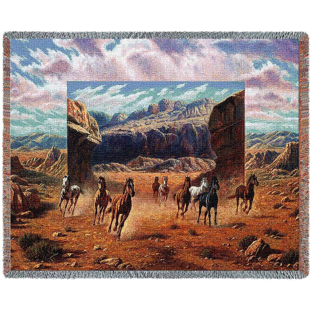 Running Horses Art Tapestry Throw