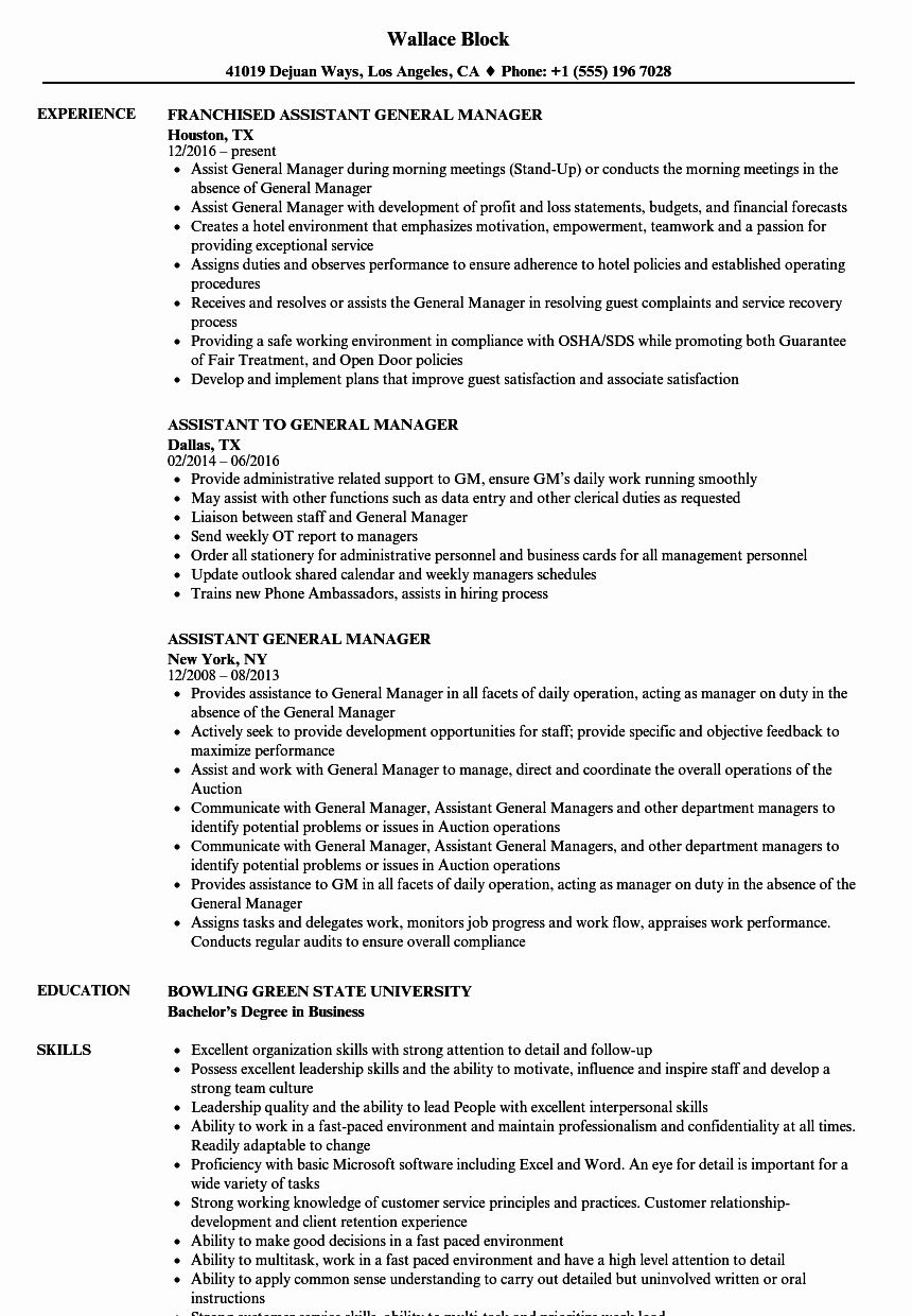 20 assistant General Manager Resume in 2020 (With images