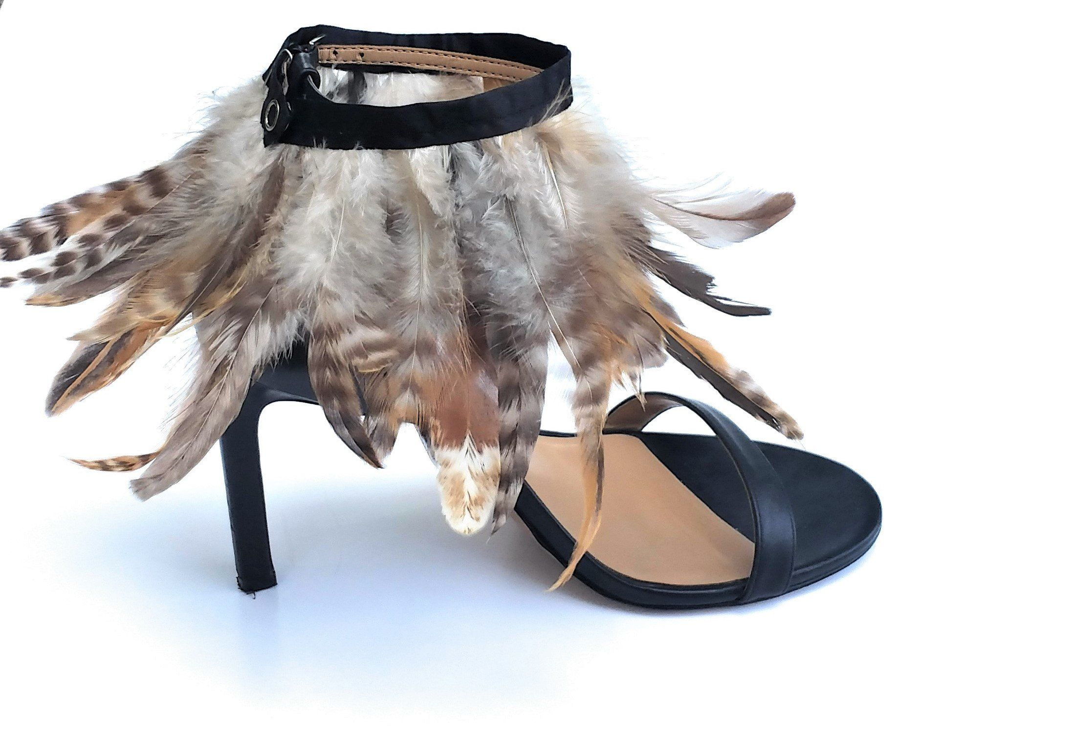 Feather Shoe Clips Feathers Shoe Accessories Anklet Black Ankle Accessories