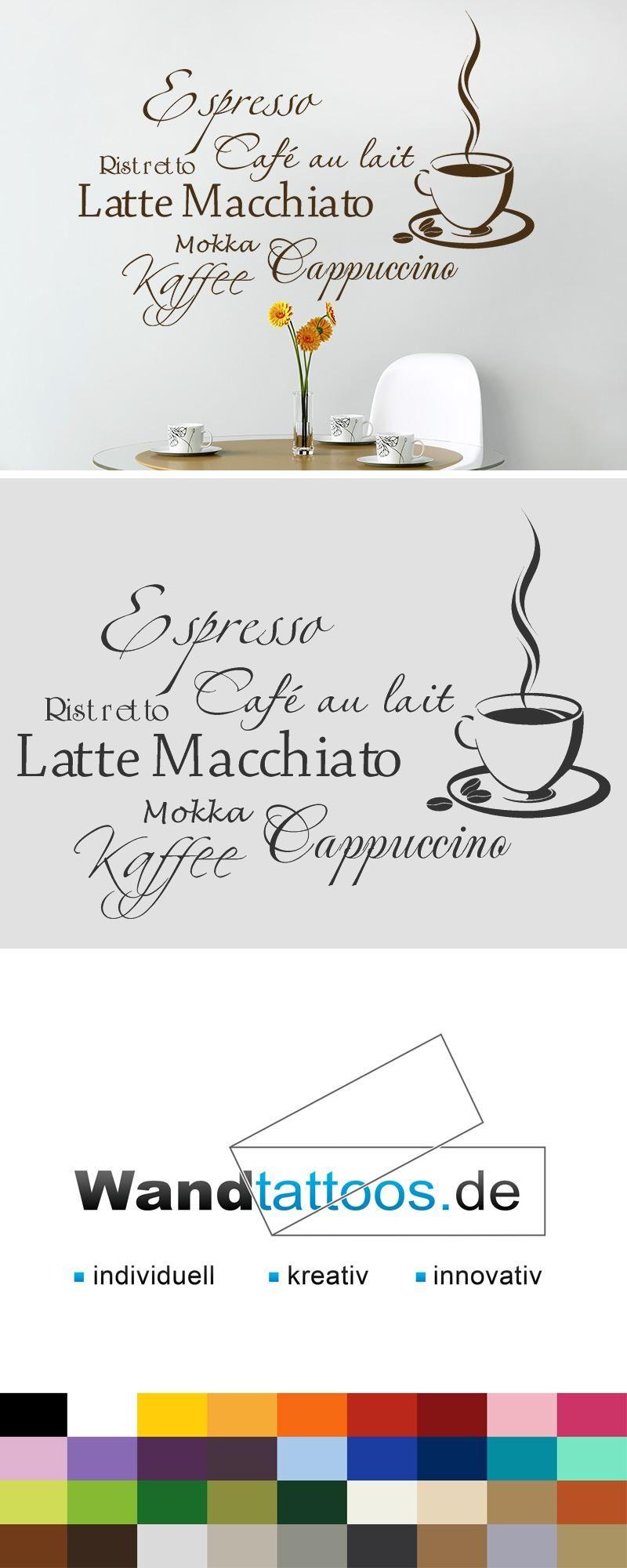 Wandtattoo Kaffee Aroma mit Kaffeetasse   Wandgestaltung küche ...