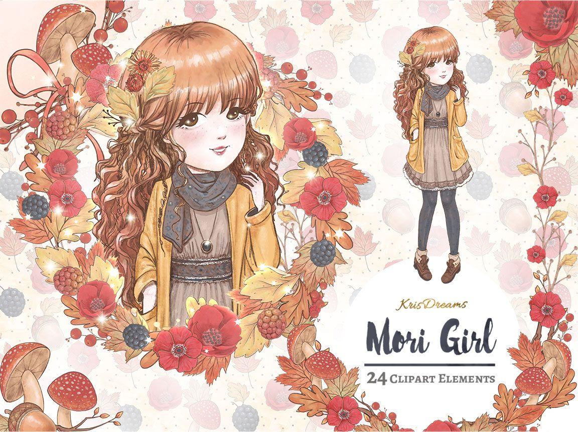 Fall Clipart Mori Girl Clipart Autumn Clipart Fashion