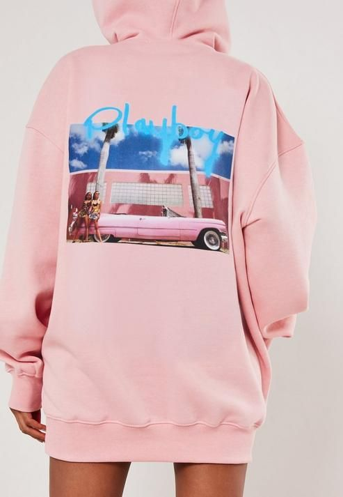 Missguided - Playboy x Missguided Pink Spray Paint Car Graphic Hoodie Dress