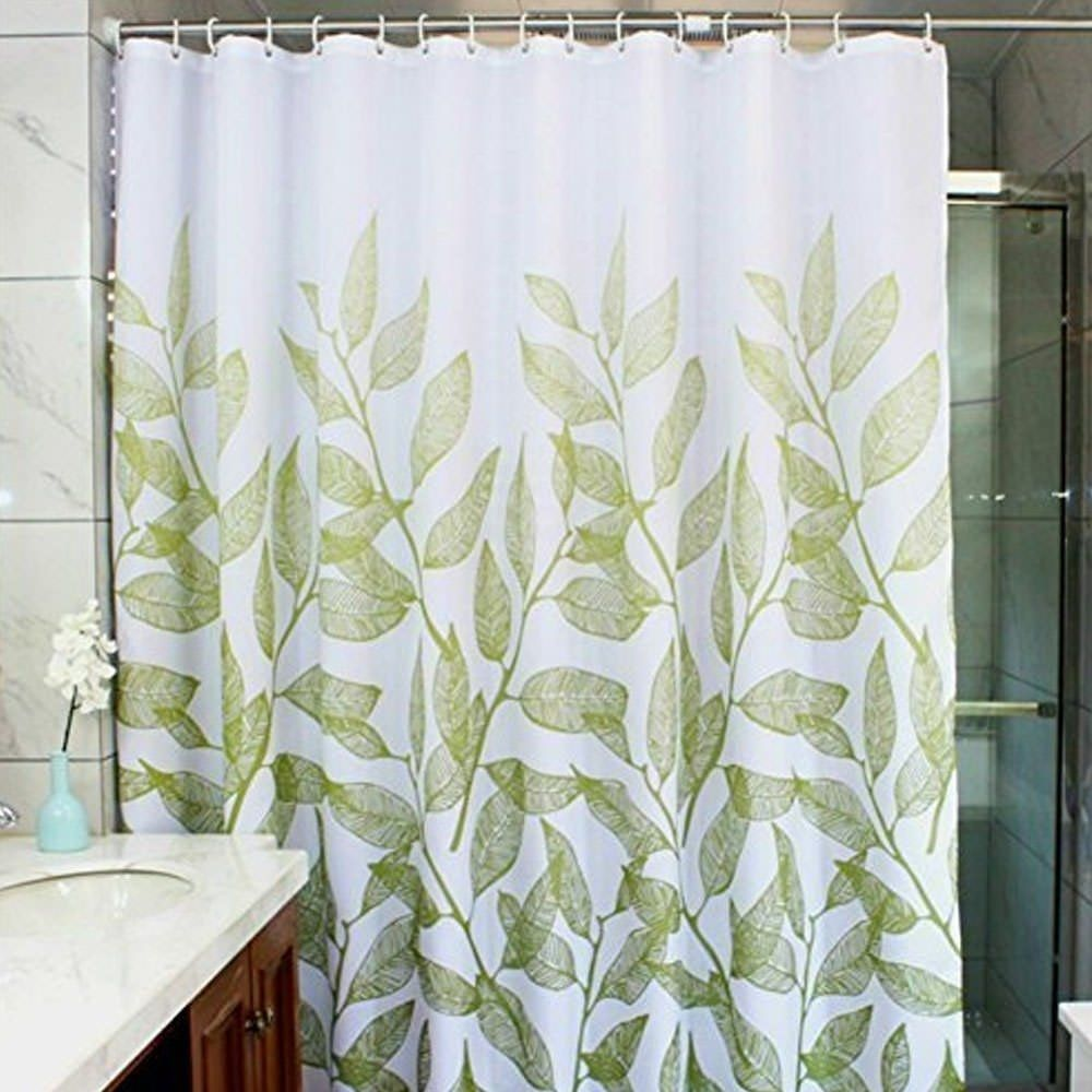 Polyester Fabric Green Leaves Shower Curtain With Hooks 72 X 72
