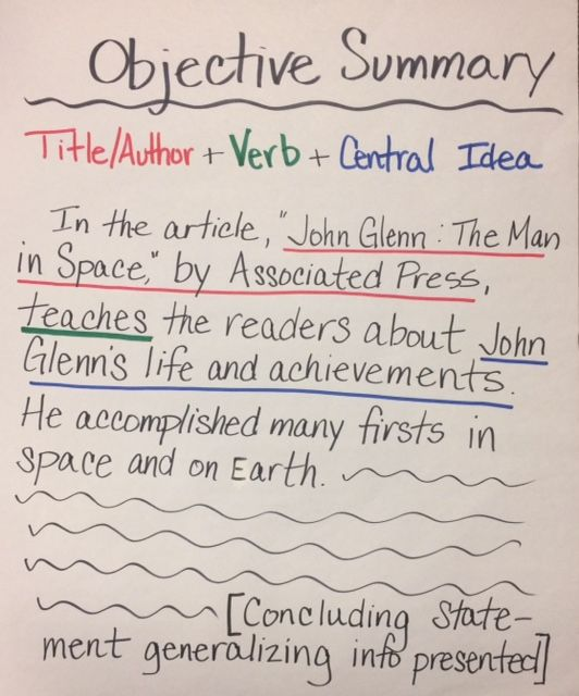 How to Write an Objective Summary | The Learning Cafe ...