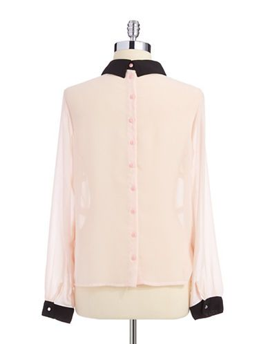 Women S Apparel Blouses Button Downs Sheer Button Back Blouse