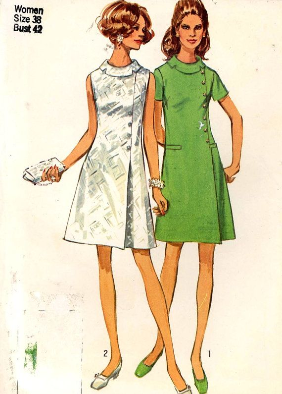 60s Vintage Dress mod Sewing pattern Simplicity 8541 Bust 42 plus ...