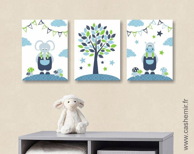 Illustration pour chambre d'enfant bébé affiche poster bébé garçon décoration murale éléphant bleu vert n2 : Chambre d'enfant, de bébé par cashemir