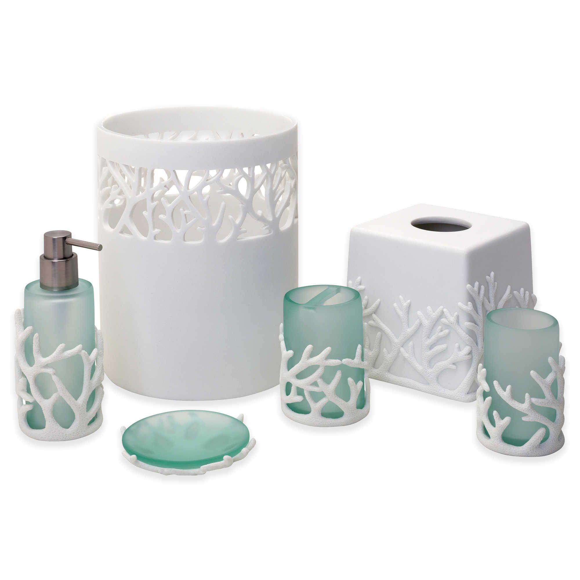 India Ink Coral Reef Bath Ensemble Bathroom Accessories Luxury Beautiful Bathroom Decor Beach Theme Bathroom
