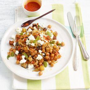 Reispfanne mit Auberginen, Kichererbsen und Minze