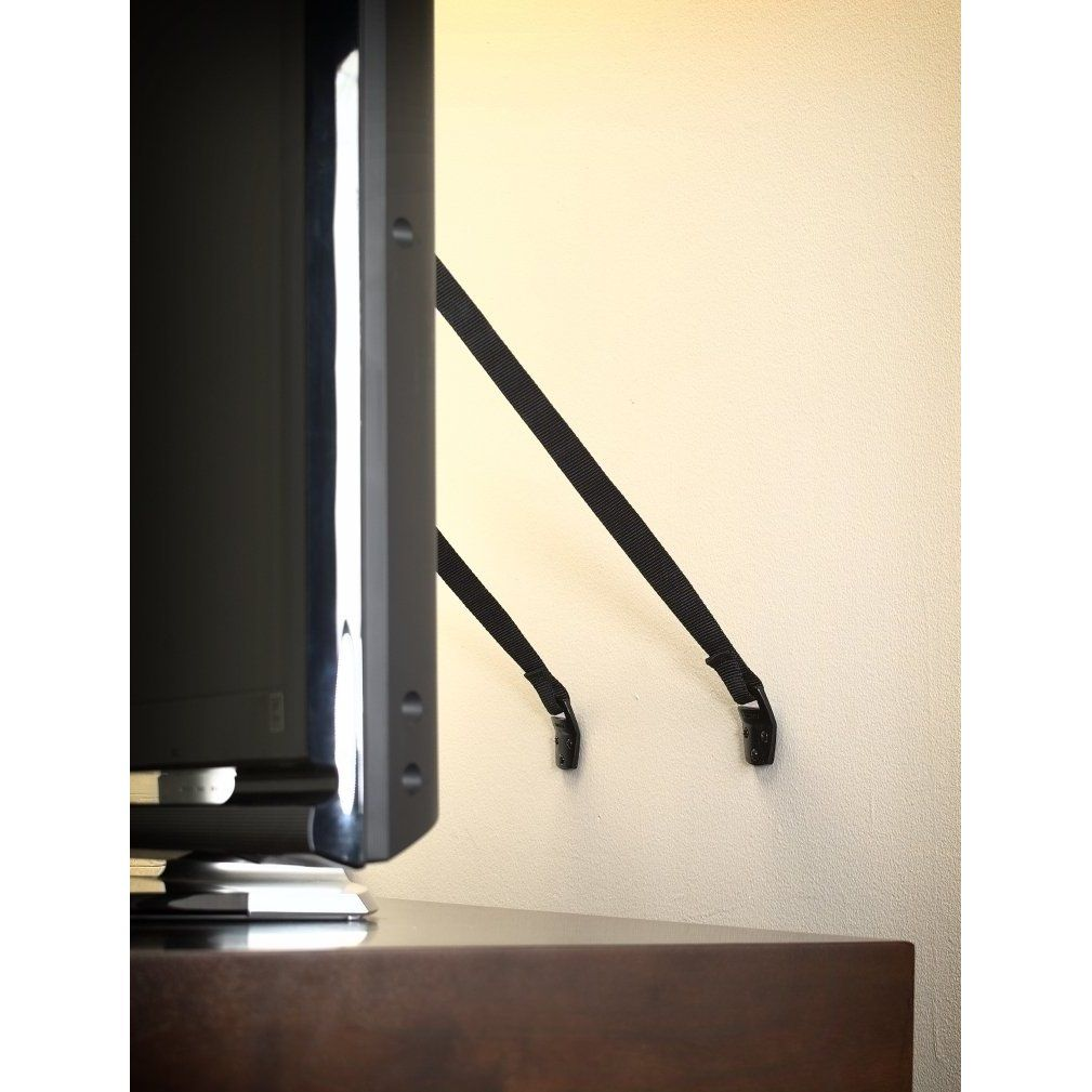 Antitip tv strap for flat screens with images tv
