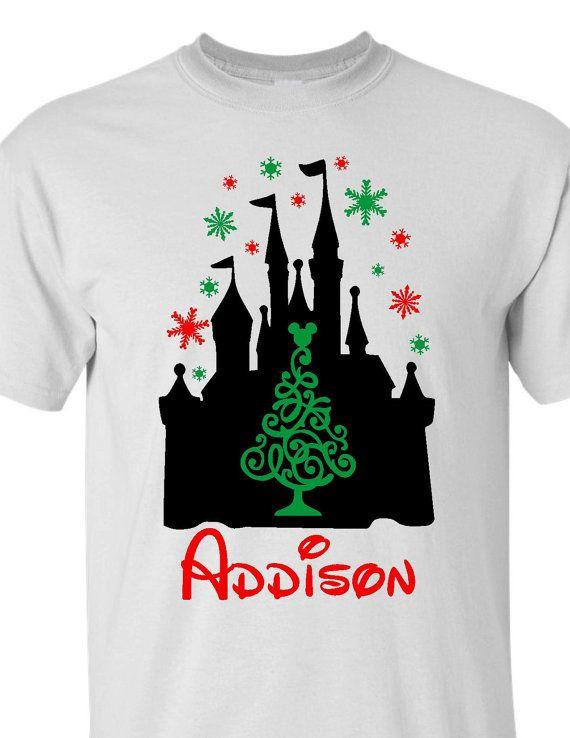 disney christmas shirt personalized disney christmas shirts disney shirts cinderella castle christmas design - Disney Christmas Shirts