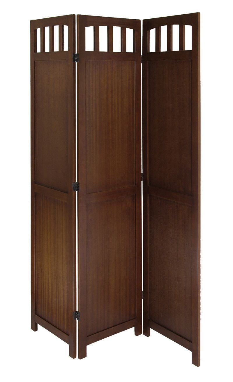 6 Ft Tall Solid Frame Fabric Room Divider 4 Panels: Winsome Wood 94370 3-Panel Wood Folding Screen