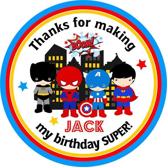 Personalised Lego Batman vs Superman Stickers Birthday Party Sweet Cones Labels