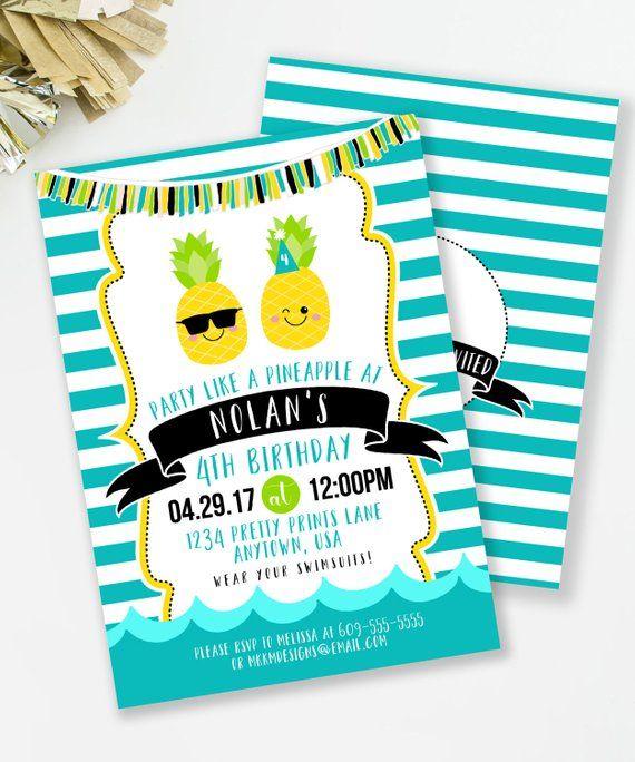 Pineapple Invitation Luau Birthday Boys Party Pool Invite Bi