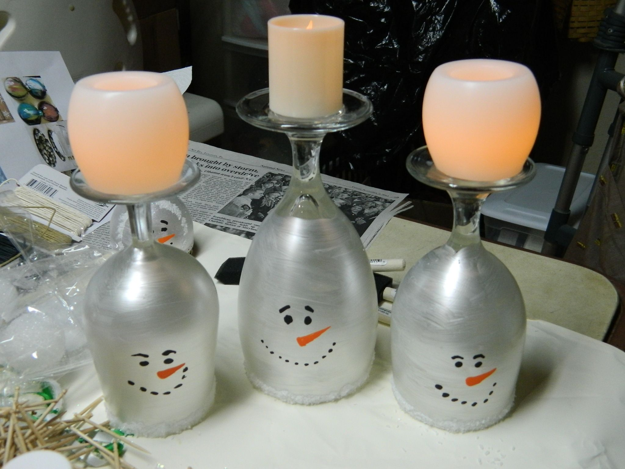 Wineglass Snowmen Candle Holders Things I39ve Made