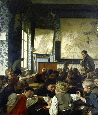 Classe pendant une leçon de géographie. Peinture de Carl Hertel (1874)