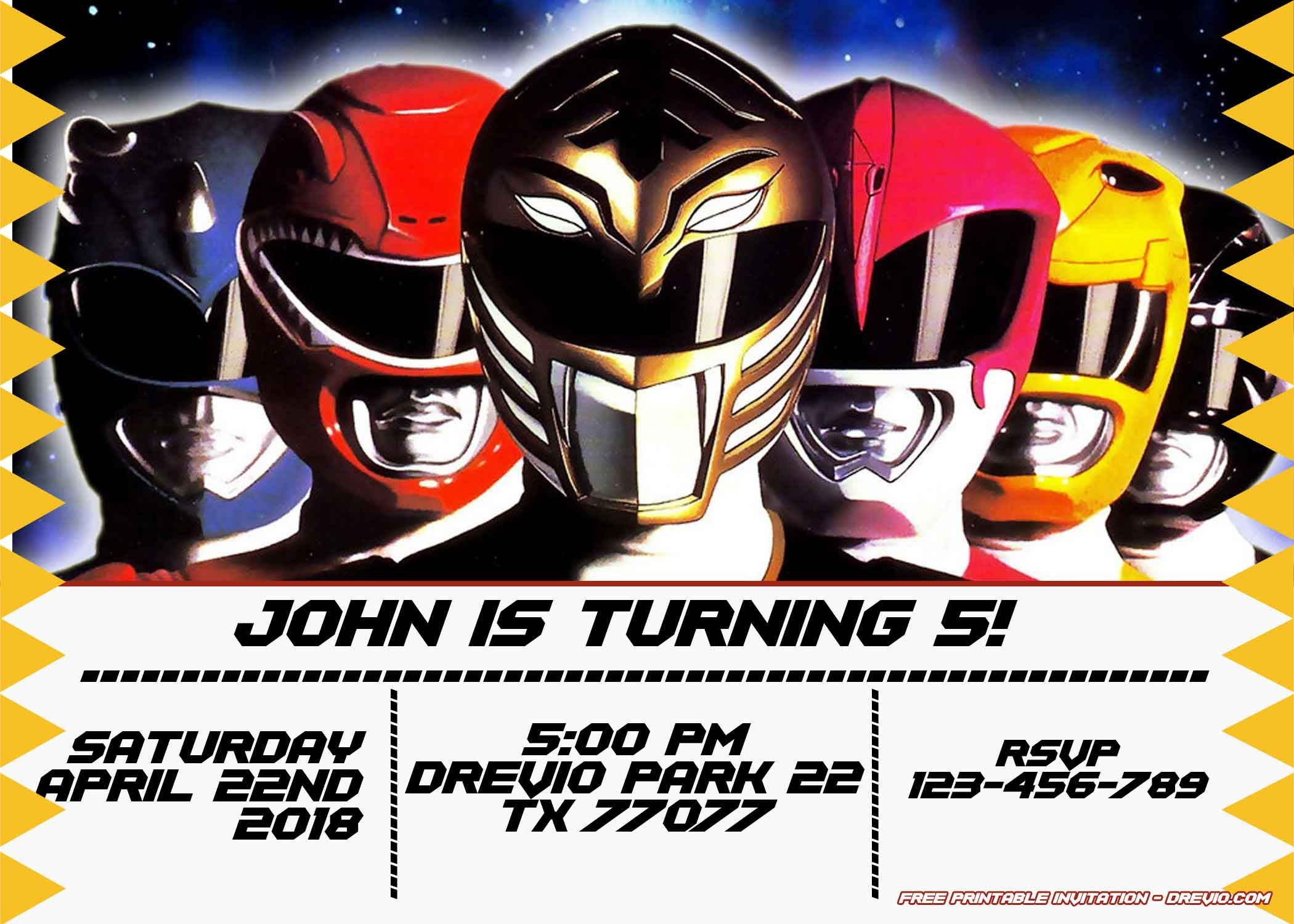 Free Power Rangers Birthday Invitation Templates Power Ranger Birthday Power Rangers Invitations Power Ranger Party