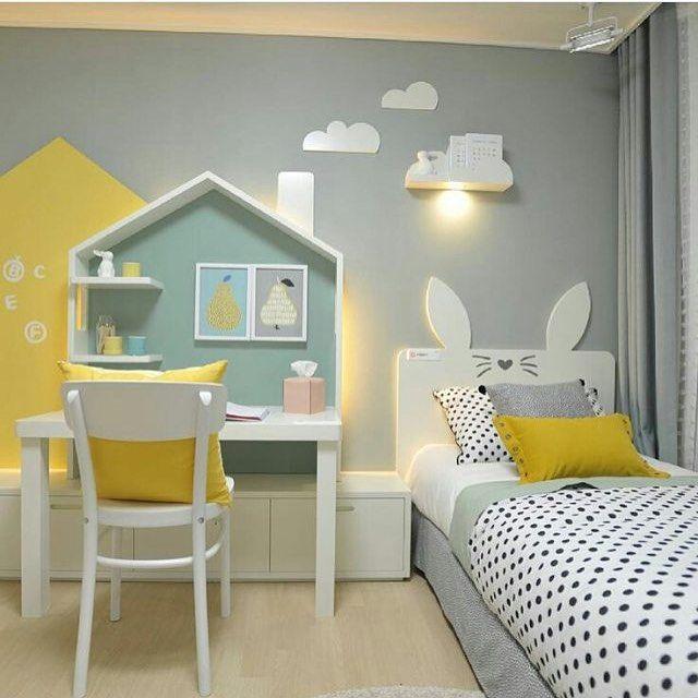 Yellow And Grey Kids Bedroom Kids Room Design Girl Room