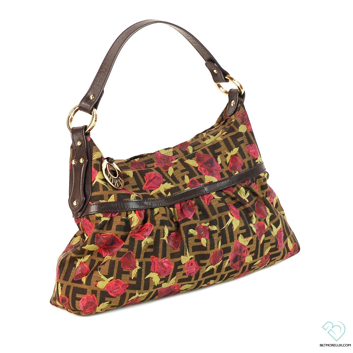 40f67bfa1d9 Fendi Zucca Rose Embroidered Handle Bag