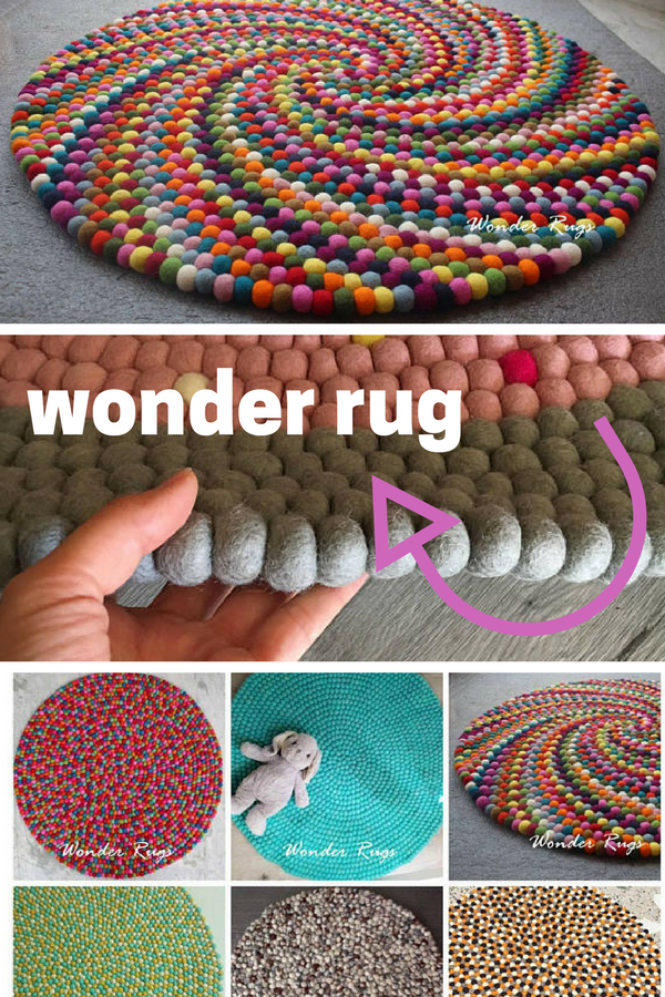 Colorful felt ball round rug Multi color nursery carpet Handmade 100% Unique Design Rug Home and Kids Room Decoration Area Rugs Mat