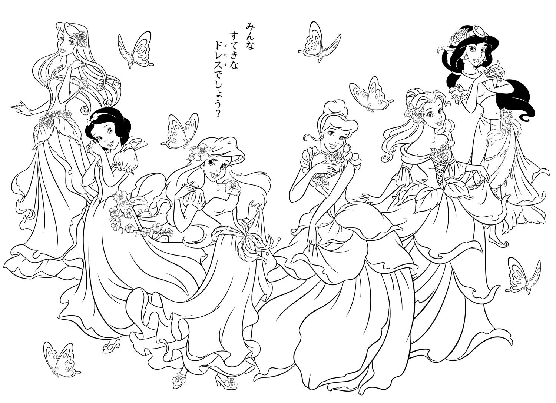 Coloriage Disney Avec Toute Les Princesse Sur Le Mémme Dessin en