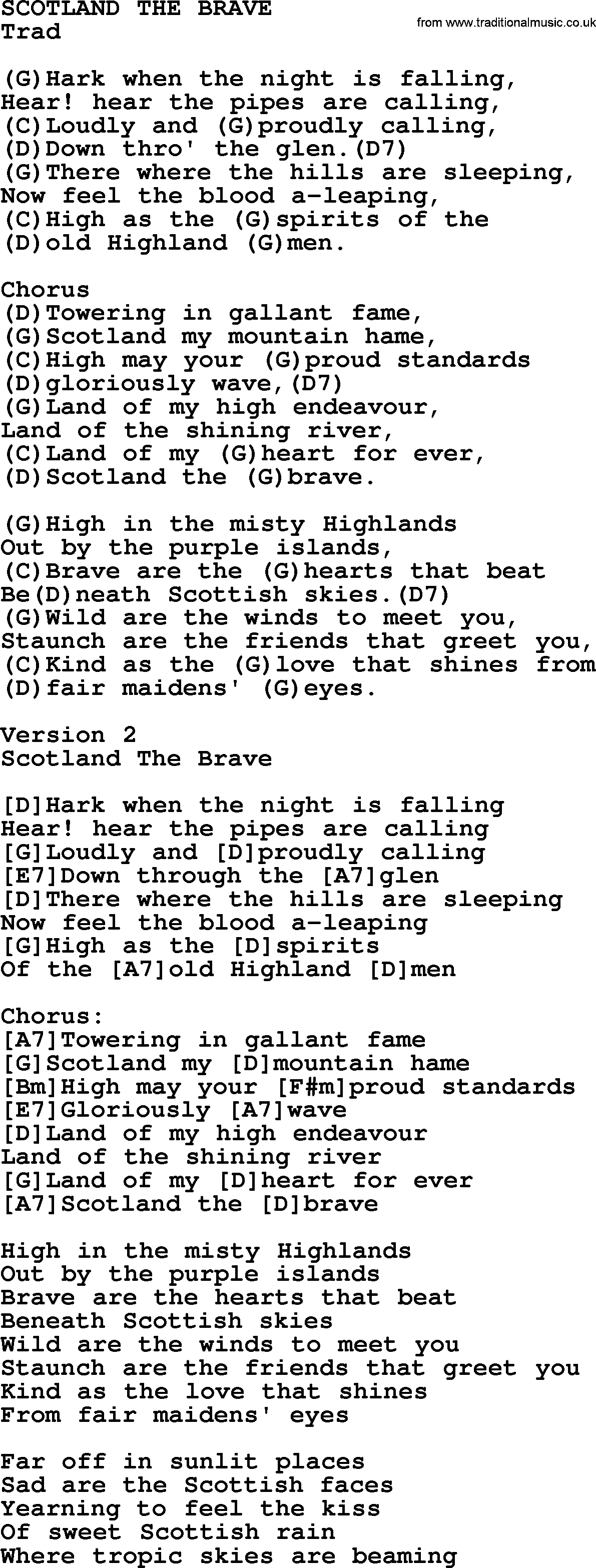 Top 1000 Most Popular Folk And Old Time Songs Scotland The Brave
