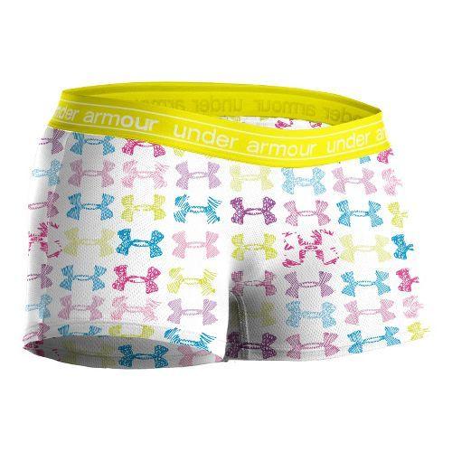 Women's Under Armour Mesh Boy Short Underwear Bottoms - White/Print M