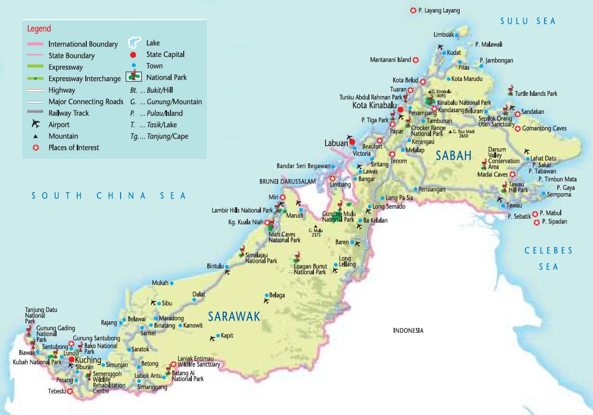 Map Detailed Map Of Borneo Malaysia Sabah And Sarawak Malaysia Travel Malaysia Travel Guide Travel