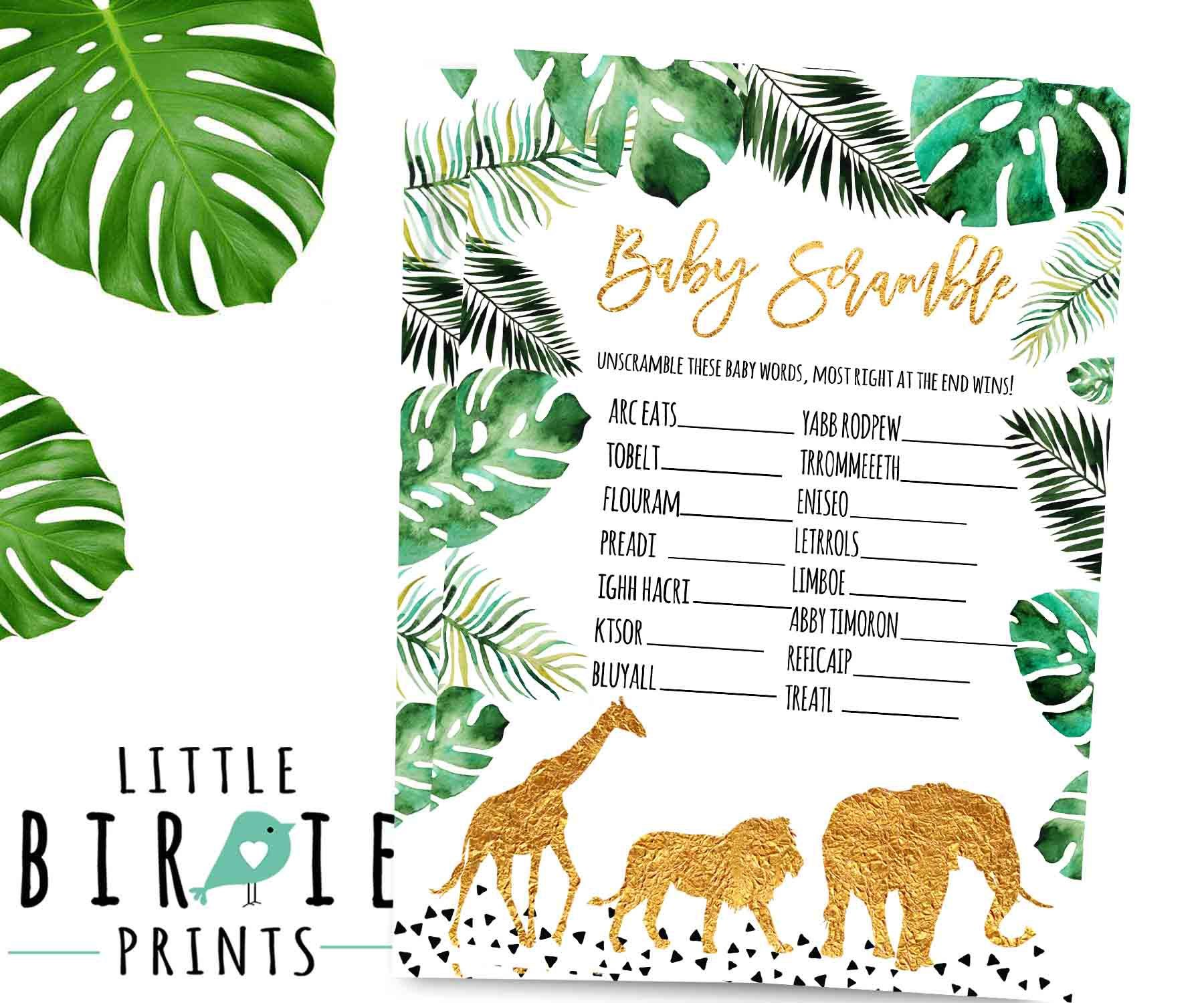 Jungle Baby Shower Game Baby Scramble Game Gold Jungle Animals
