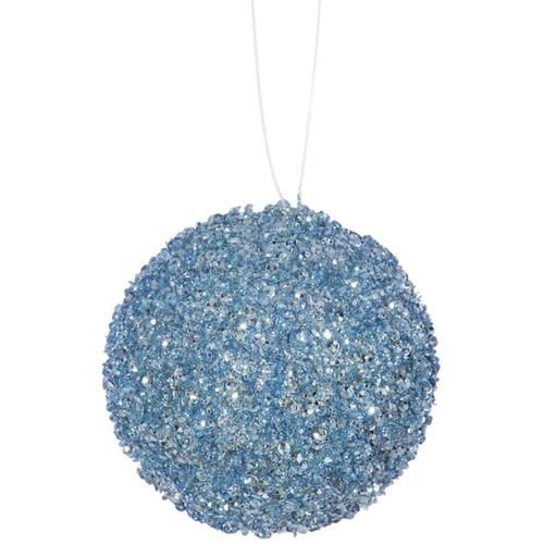 4ct baby blue sequin and glitter drenched christmas ball ornaments 4 - Light Blue Christmas Ornaments