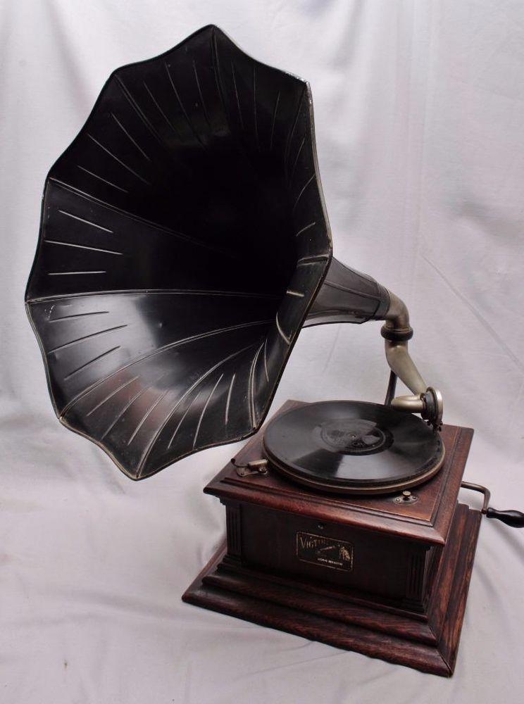 Antique Rca Victor Iii 3 Vic Iii Phonograph Talking Machine W Horn Phonograph Talking Machines Antiques