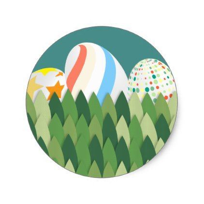 Easter egg hunt with grass background classic round sticker kids stickers gift idea diy decor