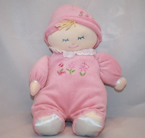 "Yangzhou Hengan Doll Pink Plush Blonde Yarn Yellow Hair Blue Eye 11"" Stuffed Toy"