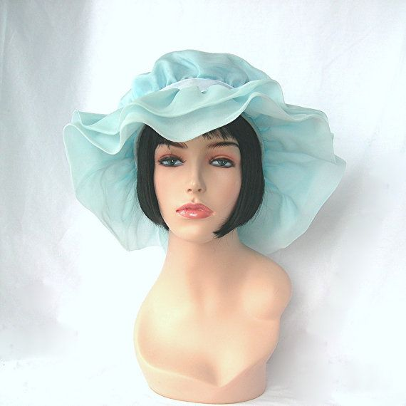 Items similar to Vintage Floppy Hat, Bridesmaid, Pale Blue Chiffon, Union Tag, Made in America, Halloween Costume, School Plays, Theater, Kentucky Derby on Etsy