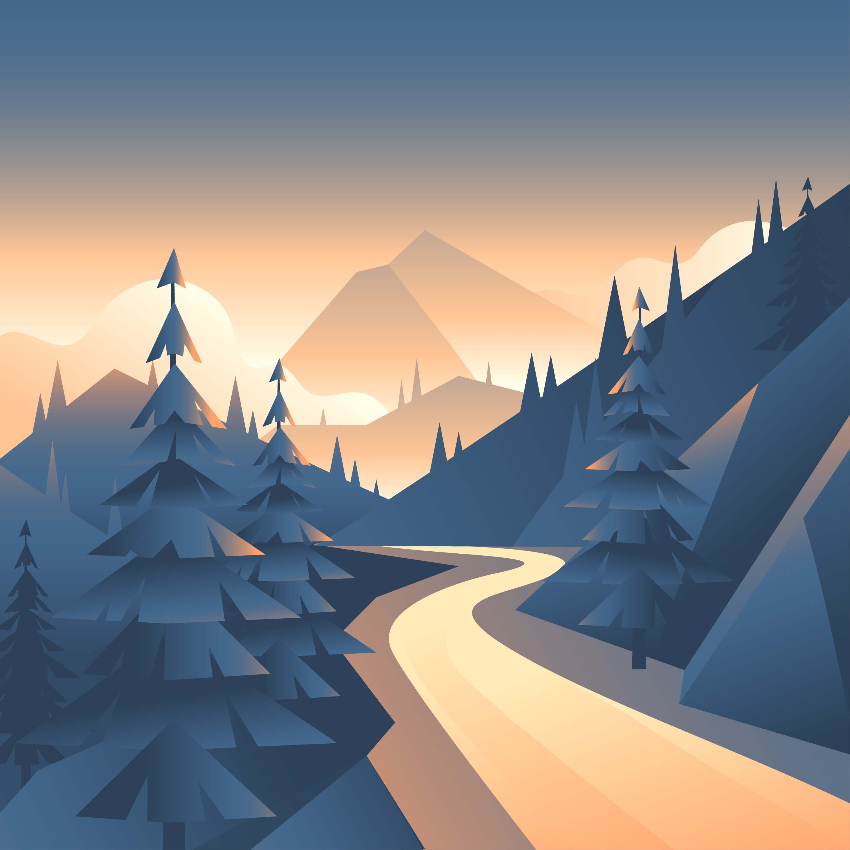 Mountain Valley Path Landscape First Person View Vector