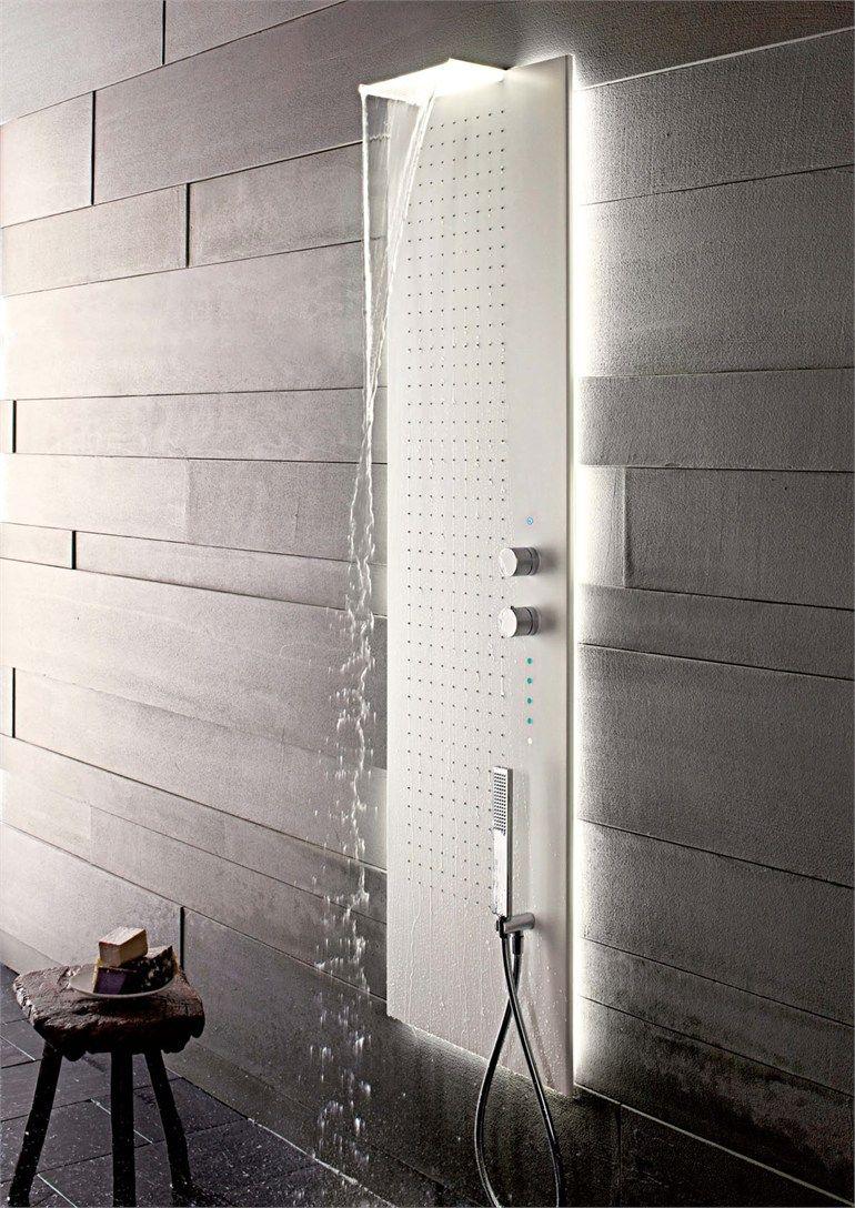 Multifunction thermostatic LED #shower column ACQUAPURA by Fantini