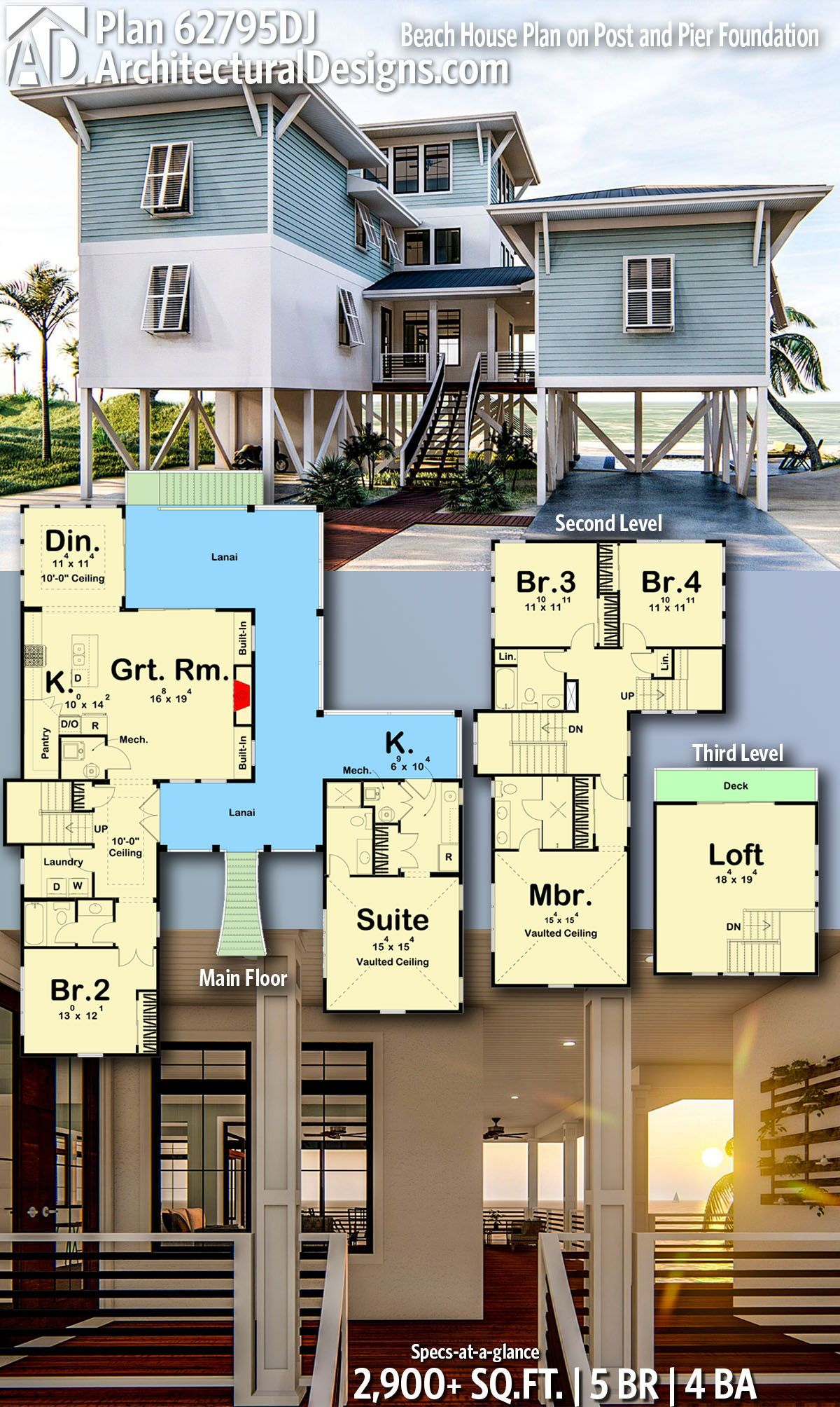 Plan 62795dj Beach House Plan On Post And Pier Foundation Beach House Flooring House On Stilts Beach House Plan